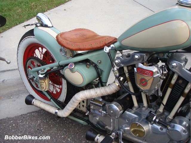 Pic of right back of ironhead motorcycle.