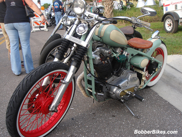 Green and Beige Sportster Ironhead
