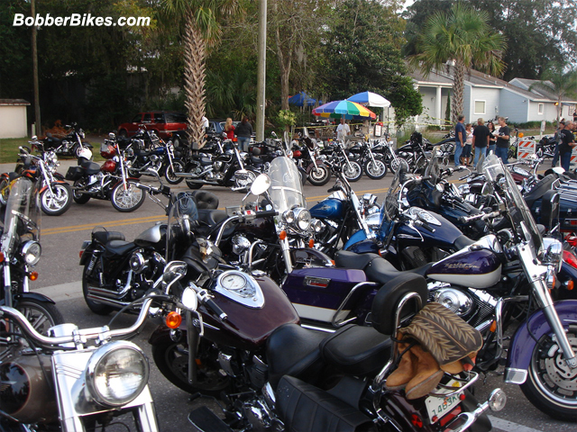 Motorcycles parked on the street.